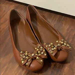BCBGeneration Camel Flats with Gold Bow Accent